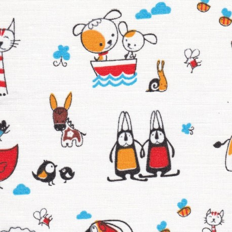 Linen/cotton blend  F111-w-animals